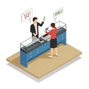 Payment methods cash isometric composition