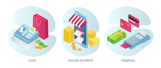 Payment methods, cash terminals online, set ofs