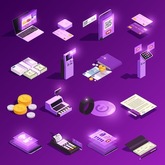 Payment methods glowing isometric icons