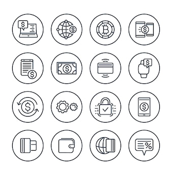 Payment methods and internet banking icons set on white in linear style