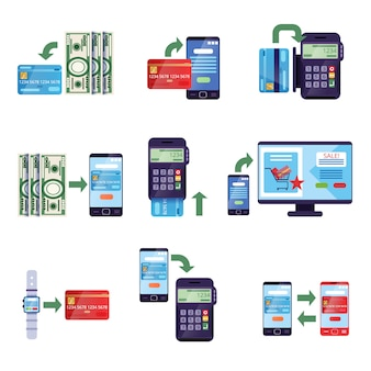Payment methods in retail and online purchases, online payment concept  illustrations