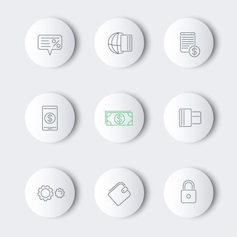 Способы оплаты, виды линий круглые современные иконки