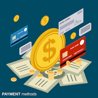 Payment methods vector concept illustration