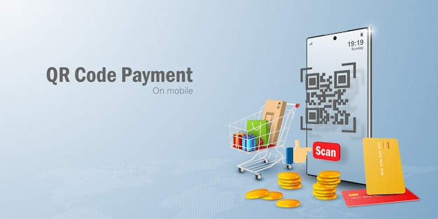 Payment on mobile comcept, qr code scanning on mobile making payment and verification