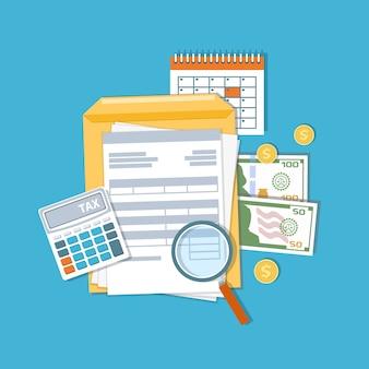 Оплата налогов и концепции счетов. финансовый календарь, деньги, наличные, золотые монеты, калькулятор, счета-фактуры с увеличительным стеклом, счета. день выплаты жалованья. иллюстрация