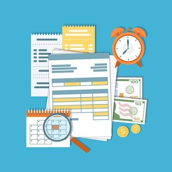 税金、借金、クレジットの支払い。金融カレンダー、ドキュメント、フォーム、お金、現金、金貨、電卓、虫眼鏡、目覚まし時計、請求書、請求書。給料日。図