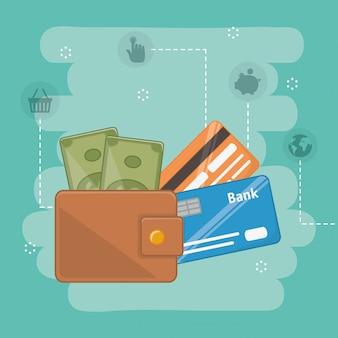 Payment online elements set composition design