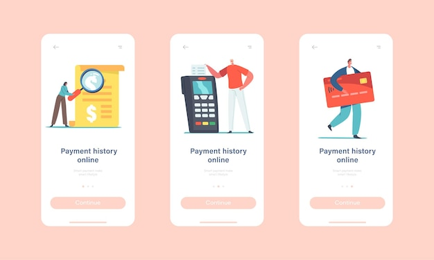 결제 온라인 내역 모바일 앱 페이지 온보드 화면 템플릿. 작은 캐릭터가 거대한 카드 리더기에서 청구서를 읽습니다.