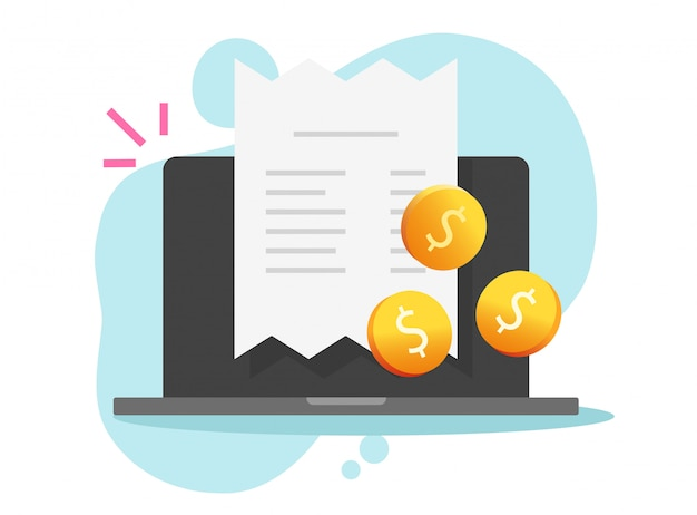 Payment online invoice and receipt tax bill on laptop computer or digital internet pay checkout and money flat cartoon illustration
