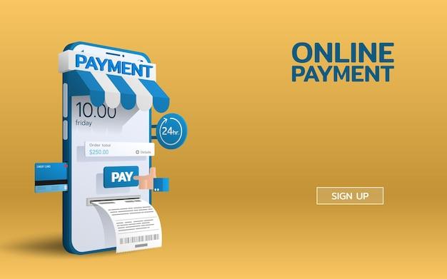 スマートフォンモバイルでの支払いオンラインサービスで、支払いボタンを手で押すと請求書が発行されます。クレジットカードによるeコマースオンライン決済。
