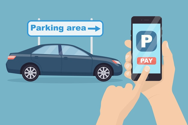 Payment for parking by mobile phone app. using online banking on smartphone