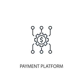 지불 플랫폼 개념 라인 아이콘입니다. 간단한 요소 그림입니다. 지불 플랫폼 개념 개요 기호 디자인입니다. 웹 및 모바일 ui/ux에 사용할 수 있습니다.