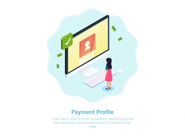 Payment profile onboarding illustration mobile isometric