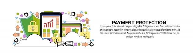 Payment protection business concept horizontal web banner template