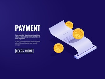 Payment receipt, payroll, electronic bill, online buying concept