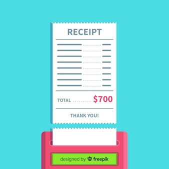 Payment receipt template with flat design