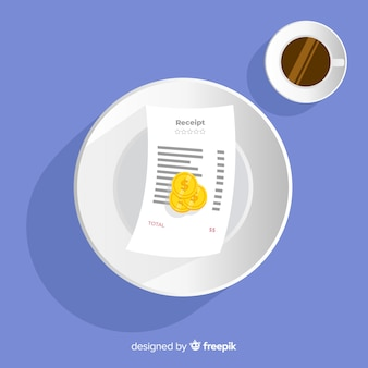 Payment receipt with coffee