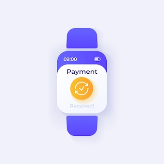 Payment received smartwatch interface vector template. mobile app notification day mode design. money transfer message screen. flat ui for application. financial operation info smart watch display