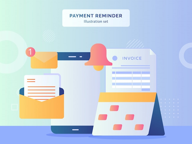 Payment reminder illustration set marker date on calendar of invoice paper bell