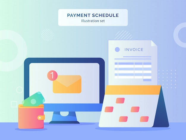 Payment schedule illustration set calendar with marker date of invoice paper money put in wallet