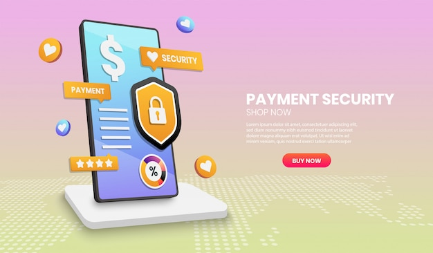 Payment security concept with phone shield and colorful element. 3d vector illustration.