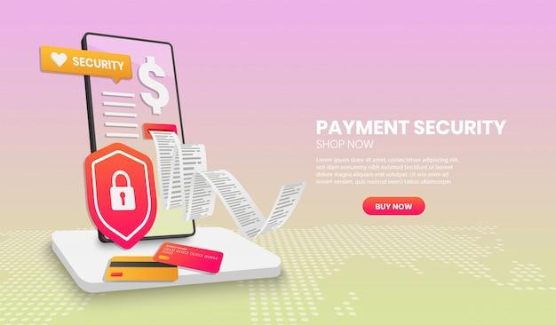 Концепция безопасности платежей с телефонным экраном, подходящим для баннера целевой страницы и 3d.