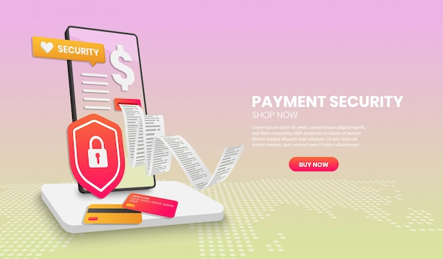 Payment security concept with phone shield suitable for landing page banner application and 3d.