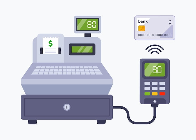 Payment in the store using a bank card. contactless payment through a cash register in a supermarket. flat vector illustration. Premium Vector