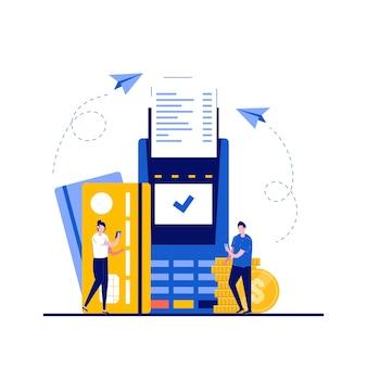 Платеж успешен, полная концепция транзакции с характером. pos-терминал с кредитной картой и отметкой на экране. современный плоский стиль для целевой страницы, мобильного приложения, инфографики, изображений героев.