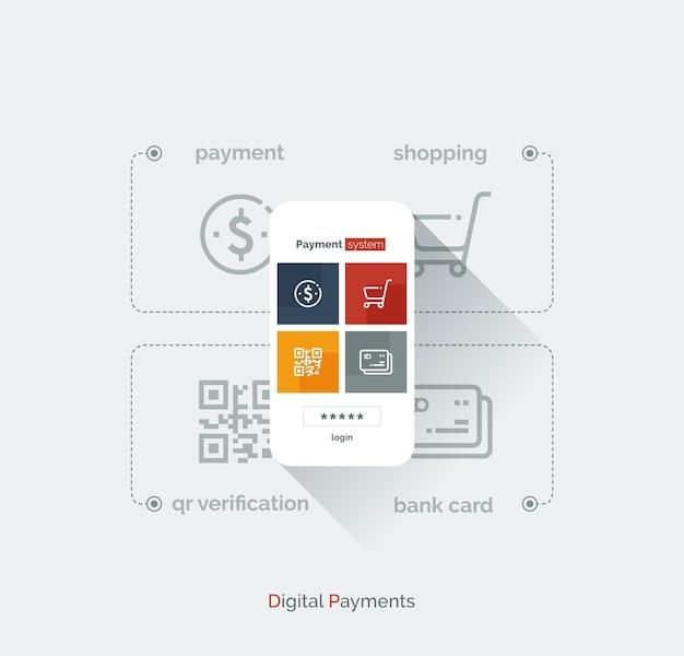 지불 시스템 모바일 인터페이스.