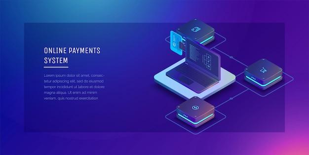 온라인 결제 시스템 디지털 금융 서비스 은행 카드 우편환 및 금융 거래가있는 노트북
