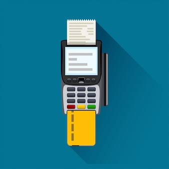 Payment terminal on blue
