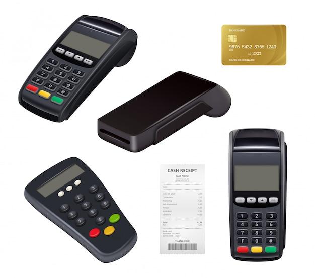 결제 단말기. 거리 지불 모바일 nfc 금융 소매 금융 도구에 대 한 근접 촬영 돈 영수증 신용 카드 기계