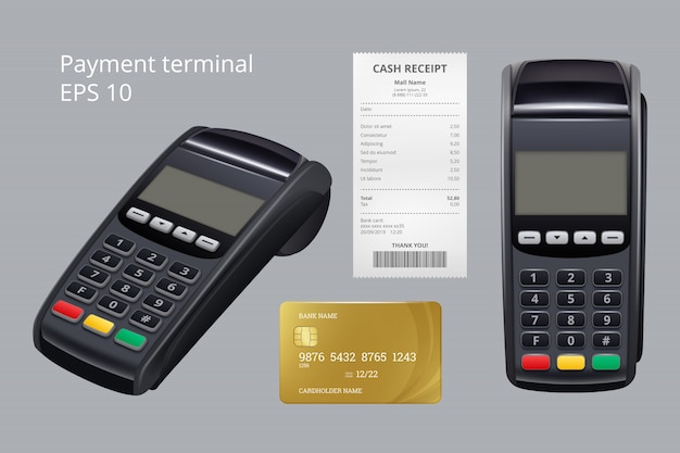 Payment terminal. credit card termination machine nfc mobile payment receipt for goods  realistic illustrations