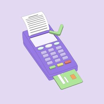 수표 및 신용 카드가 있는 결제 터미널 아이소메트릭 그림 pos 터미널 승인된 결제