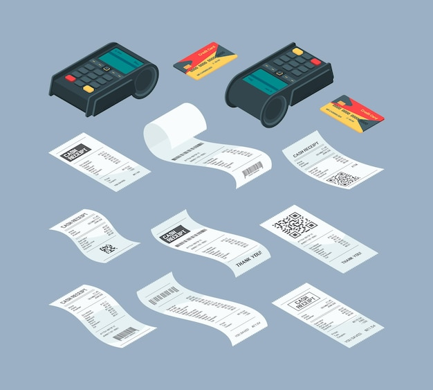 Payment terminal isometric. purchase billing financial paper check and buying machine for nfc card payment bank comunication vector illustrations. check payment terminal, credit card transaction