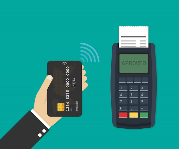 Payment terminal. pos machine with credit card. vector illustration.