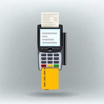 Payment terminal on white