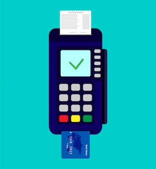 Payment terminal with credit card and check.