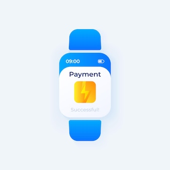 Payment transfer smartwatch interface vector template. mobile app notification day mode design. online cash transaction message screen. flat ui for application. smart watch display