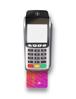 Оплата через терминал кредитной картой с чипом. платежный автомат. макет. вектор реалистичные серебро, изолированные на белом фоне