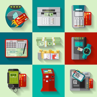 Payments methods flat icons set