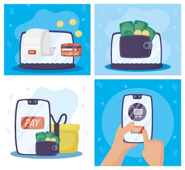 Платежные технологии онлайн с гаджетами и иконками
