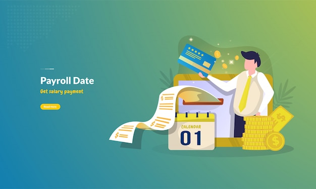 Payroll date for salary payment illustration concept