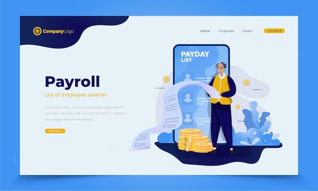 Payroll day or salary list illustration concept for banner or landing page