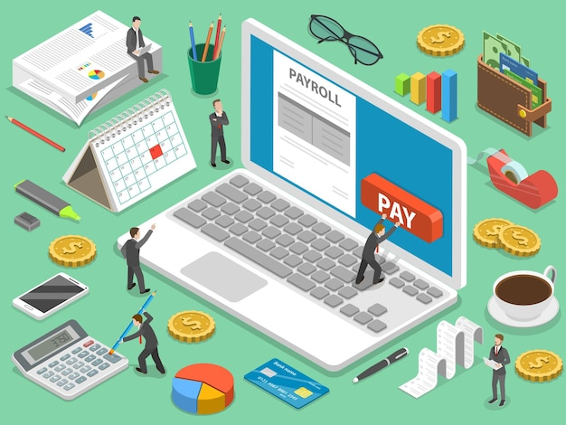 Payroll flat isometric concept of salary payment, financial calendar, expenses calculator.