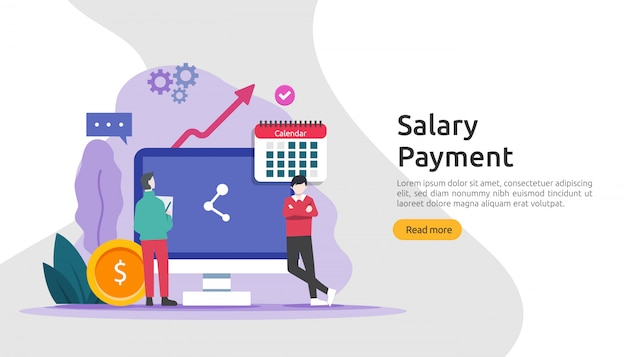 Payroll income concept. salary payment annual bonus. payout with paper, calculator, and people character.