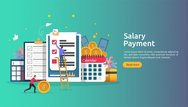 Payroll income concept. salary payment annual bonus.