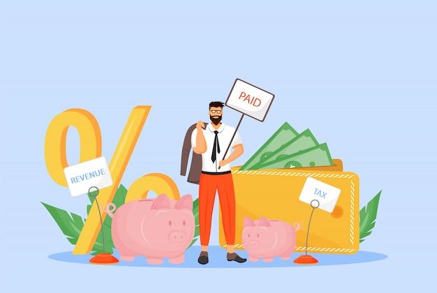 Налог на заработную плату плоской концепции иллюстрации. бизнесмен, налогоплательщик, работник, платящий доход 2d мультипликационный персонаж для веб-дизайна. ставка налогообложения, отчисления из заработной платы работников творческой идеи