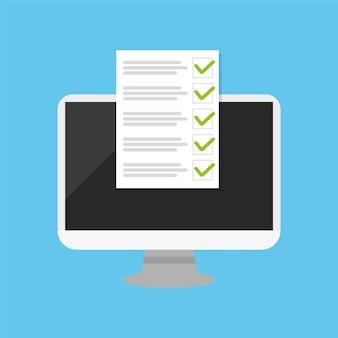Pcとチェックマーク付きのチェックボックスバナーウェブサイトの選択調査フラットデザインベクトル